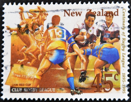 NEW ZEALAND - CIRCA 1995: A stamp printed in New Zealand dedicated to centenary of rugby league, circa 1995 photo