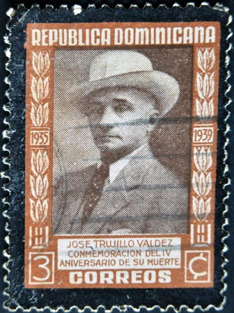 DOMINICAN REPUBLIC - CIRCA 1939: A stamp printed in Dominican Republic shows President Trujillo, circa 1939