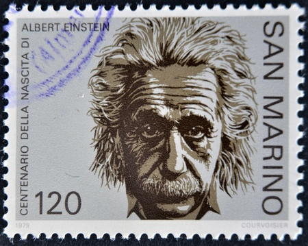 albert: SAN MARINO - CIRCA 1979: A stamp printed in San Marino shows Albert Einstein, circa 1979