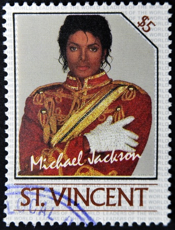jackson: ST. VINCENT - CIRCA 1985: A stamp printed in St. Vincent shows Michael Jackson, circa 1985