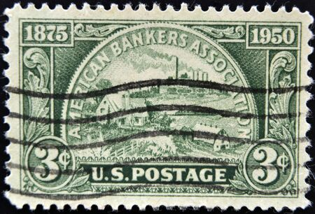 UNITED STATES OF AMERICA - CIRCA 1950: A stamp printed in USA devoted American Bankers Association, circa 1950  photo