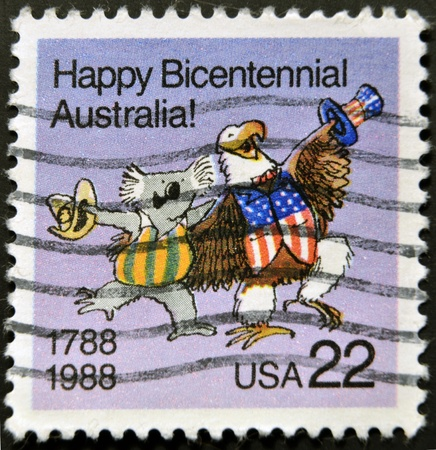 USA - CIRCA 1988: A stamp dedicated to The bicentenary of Australia was celebrated in 1970 on the 200th anniversary of Captain James Cook landing and claiming the land, circa 1988.