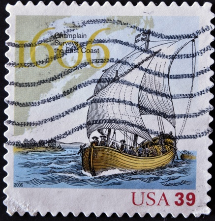 UNITED STATES - CIRCA 2006:A stamp printed in USA shows clouds, champlain surveys the east coast, circa 2006  Stock Photo - 12207323