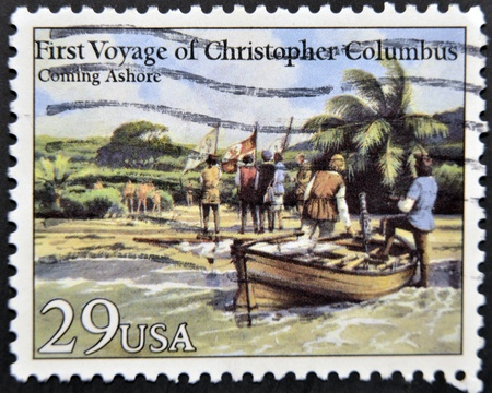 colonizer: UNITED STATES OF AMERICA - CIRCA 1992: A stamp printed in USA dedicated to first voyage of christopher columbus, shows coming ashore, circa 1992