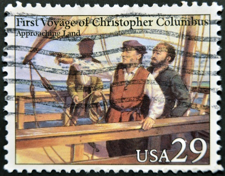 colonizer: UNITED STATES OF AMERICA - CIRCA 1992: A stamp printed in USA dedicated to first voyage of christopher columbus, shows approaching land, circa 1992