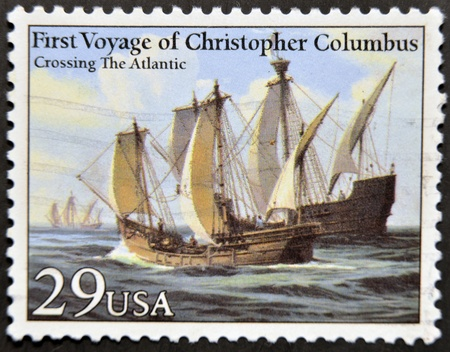 colonizer: UNITED STATES OF AMERICA - CIRCA 1992: A stamp printed in USA dedicated to first voyage of christopher columbus, shows crossing the atlantic, circa 1992