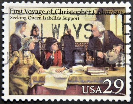 colonizer: UNITED STATES OF AMERICA - CIRCA 1992: A stamp printed in USA dedicated to first voyage of christopher columbus, shows seeking queen isabella�s support, circa 1992