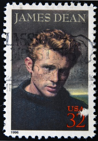 UNITED STATES - CIRCA 1996: A stamp printed in USA shows James Dean, circa 1996