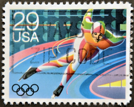 UNITED STATES OF AMERICA - CIRCA 1992: A stamp printed in USA dedicated to Winter Olympics, shows speed, circa 1992  Stock Photo - 12207356