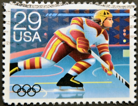 UNITED STATES OF AMERICA - CIRCA 1992: A stamp printed in USA dedicated to Winter Olympics, shows hochey, circa 1992