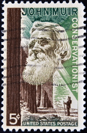 muir: USA - CIRCA 1964: A stamp printed in USA shows the portrait of a John Muir, naturalist and conservationist and Redwood Forest, circa 1964
