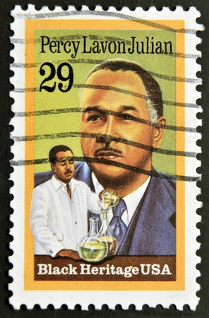 UNITED STATES - CIRCA 1993: A stamp printed in USA shows Percy Lavon Julian, black heritage, circa 1993  Stock Photo - 12201341