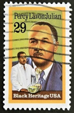 UNITED STATES - CIRCA 1993: A stamp printed in USA shows Percy Lavon Julian, black heritage, circa 1993  Stock Photo - 12201341