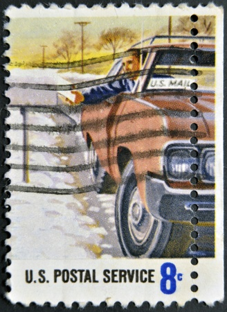 UNITED STATES OF AMERICA - CIRCA 1970: A stamp printed in USA dedicated to postal service, circa 1970  photo
