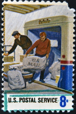 united states postal service: UNITED STATES OF AMERICA - CIRCA 1970: A stamp printed in USA dedicated to postal service, circa 1970