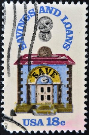 accumulations: UNITED STATES - CIRCA 1981: stamp printed in USA shows bank, savings and loans, circa 1981