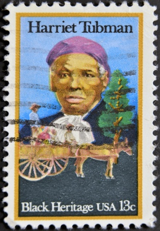 abolitionist: USA - CIRCA 1996 : stamp printed in USA show Harriet Tubman African-American abolitionist, humanitarian, black heritage, circa 1996  Editorial