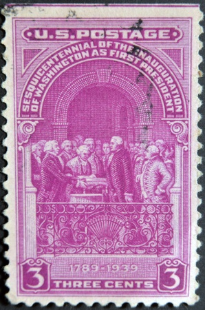 usps: USA - CIRCA 1939: A stamp printed in USA shows Inauguration Of Washington As First President, circa 1939.