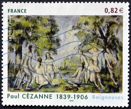"""bathers: FRANCIA - CIRCA 2006: Un timbro stampato in Francia mostra le """"Bagnanti"""" pittura di Paul Cezanne, circa 2006"""