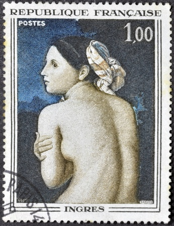 the bather: FRANCE - CIRCA 1967: A stamp printed in France shows Half-Figure of a Bather by Jean-Auguste-Dominique Ingres, circa 1967  Editorial