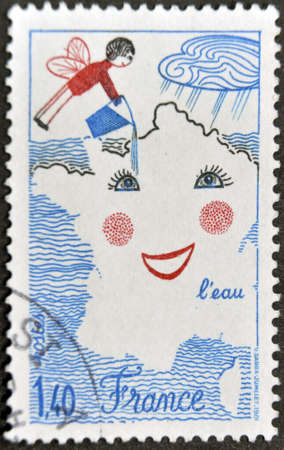 irrigated: FRANCE - CIRCA 1981: A stamp printed in France dedicated to water,  shows childrens drawing the map of France as one side being irrigated, circa 1981