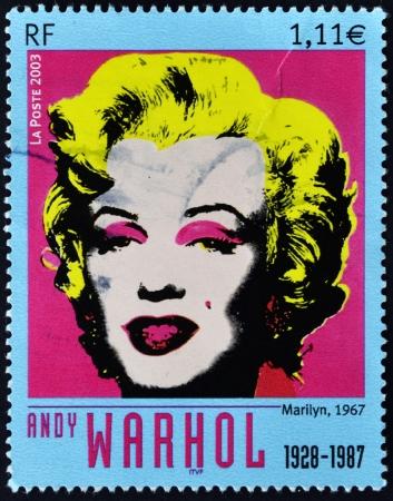 philatelist: FRANKREICH - CIRCA 2003: Ein Stempel in Frankreich gedruckt zeigt Marilyn Monroe von Andy Warhol, circa 2003 Editorial