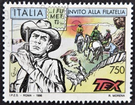 tex: ITALY - CIRCA 1996: A stamp printed in Italy shows Tex Willer, circa 1996