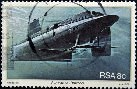 SOUTH AFRICAN - CIRCA 1982: A stamp printed in RSA shows submarine Duikboot, circa 1982 Stock Photo - 12207450