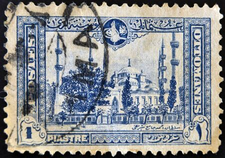hospice: TURKEY - CIRCA 1914: A stamp printed in Turkey shows image Sultan Ahmed Mosque in Istanbul, circa 1914