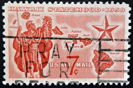 statehood: UNITED STATES - CIRCA 1959: A stamp printed in USA shows Alii Warrior, Map of Hawaii and Star of Statehood, circa 1959