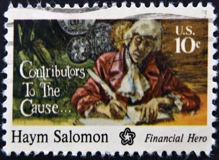 UNITED STATES - CIRCA 1975: A stamp printed in USA shows Haym Salomon, circa 1975  Stock Photo - 12201374