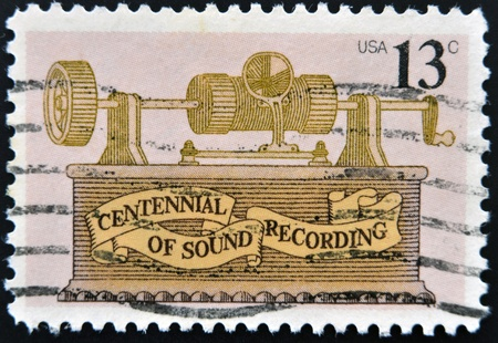 UNITED STATES - CIRCA 1977: stamp printed in USA shows The Foil phonograth, centennial of sound recording, circa 1977  photo