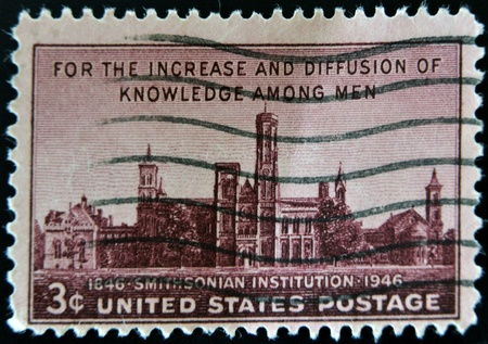 USA - CIRCA 1946: A stamp printed in the USA shows For the increase and diffusion of knowledge among men, Smithsonian institution, circa 1946