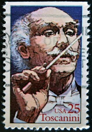 UNITED STATES - CIRCA 1989: A stamp printed in USA shows Toscanini, circa 1989  Stock Photo - 12201370