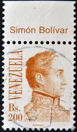 VENEZUELA - CIRCA 1980: A stamp printed in the Venezuela shows a national hero Simon Bolivar, circa 1980