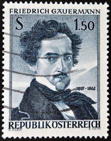 friedrich: AUSTRIA - CIRCA 1964: A stamp printed in Austria shows Friedrich Gauermann, circa 1964