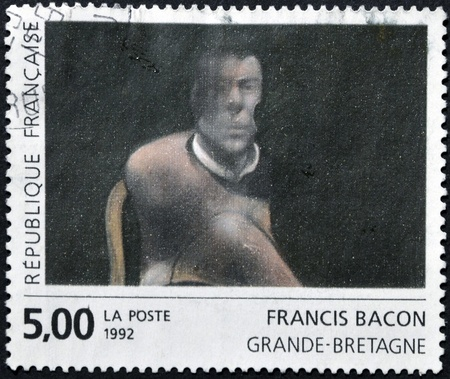 bacon portrait: FRANCE - CIRCA 1992: A stamp printed in France shows Study for the Portrait of John Edward , by Francis Bacon, circa 1992