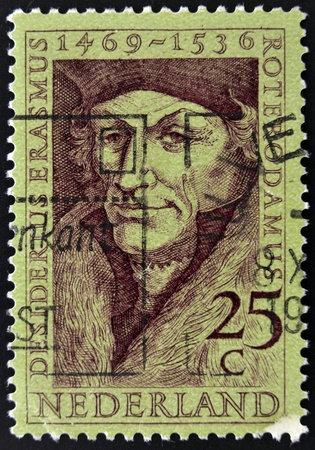 humanist: Holland - CIRCA 1990: A stamp printed in the Netherlands shows Erasmus of Rotterdam, circa 1990 Editorial