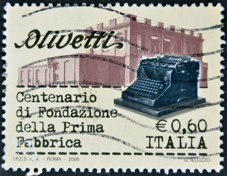 centenary: ITALY, CIRCA 2008: A stamp printed in Italy dedicated to centenary Olivetti, Circa 2008