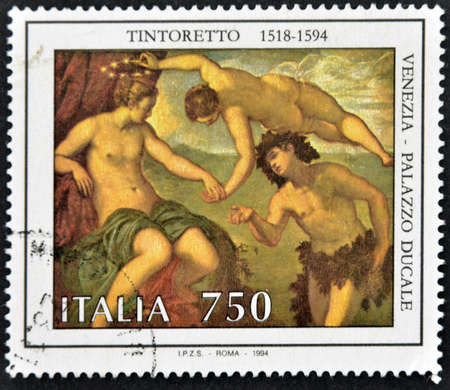 mannerism: ITALY - CIRCA 1994: A stamp printed in Italy shows the work Bacchus and Ariadne by Tintoretto, Doges Palace in Venice, circa 1994 Stock Photo