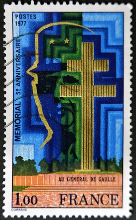 charles de gaulle: FRANCE - CIRCA 1977: A stamp printed in France dedicated to Charles de Gaulle, circa 1977