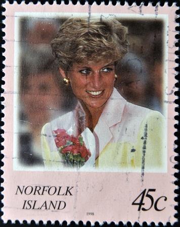 NORFOLK ISLAND - CIRCA 2008: A stamp printed in Norfolk Island shows Diana, Princess of Wales, circa 2008