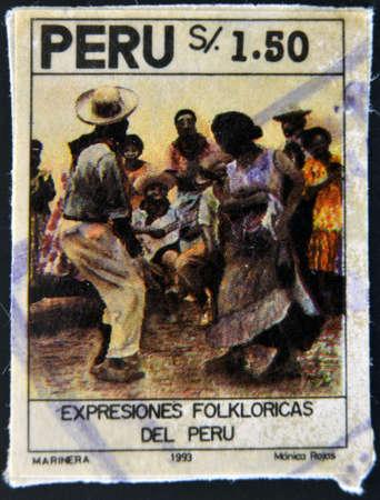 PERU - CIRCA 1993: A stamp printed in Peru dedicated to folk expressions, circa 1993 photo