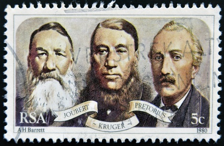 rsa: SOUTH AFRICAN - CIRCA 1980: A stamp printed in RSA shows Joubert, Kruger and Pretorius, circa 1980 Editorial