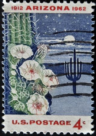 UNITED STATES - CIRCA 1962: stamp printed in USA shows Giant Saguaro Cactus, Arizona Statehood, circa 1962  photo