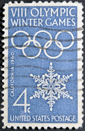 USA - CIRCA 1960: A stamp printed in USA shows image of the dedicated to the 8 Olympic Winter Games, California, circa 1960.