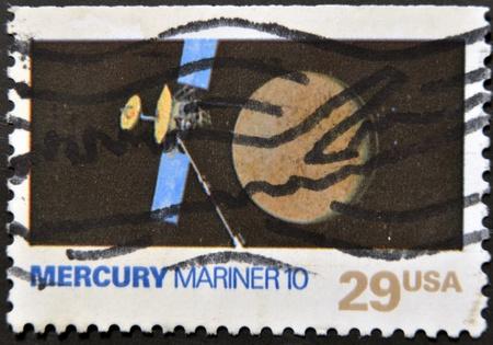 mariner: UNITED STATES OF AMERICA - CIRCA 1991: A stamp printed in USA shows mercury mariner 10, circa 1991