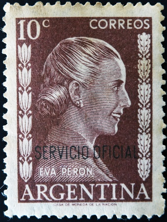 evita: ARGENTINA - CIRCA 1952: A stamp printed in Argentina shows portrait Maria Eva Duarte de Peron, circa 1952