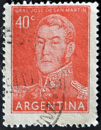 ARGENTINA - CIRCA 1955: A stamp printed in the Argentina shows a national hero, Jose de San Martin, circa 1955