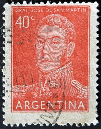 jose de san martin: ARGENTINA - CIRCA 1955: A stamp printed in the Argentina shows a national hero, Jose de San Martin, circa 1955  Editorial
